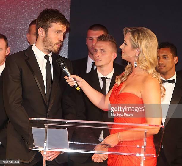 Michael Carrick of Manchester United is interviewed by host Hayley McQueen at the Manchester United Player of the Year awards at Old Trafford on May...