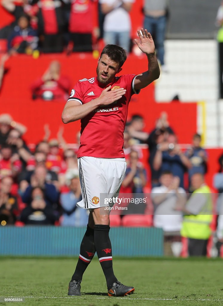 Michael Carrick of Manchester United leaves the pitch during his final match for the club during the Premier League match between Manchester United and Watford at Old Trafford on May 13, 2018 in Manchester, England.
