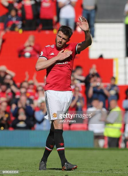 Michael Carrick of Manchester United leaves the pitch during his final match for the club during the Premier League match between Manchester United...