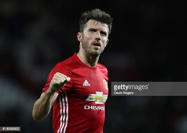 Michael Carrick of Manchester United reacts to his side winning after the final whistle during the EFL Cup fourth round match between Manchester...