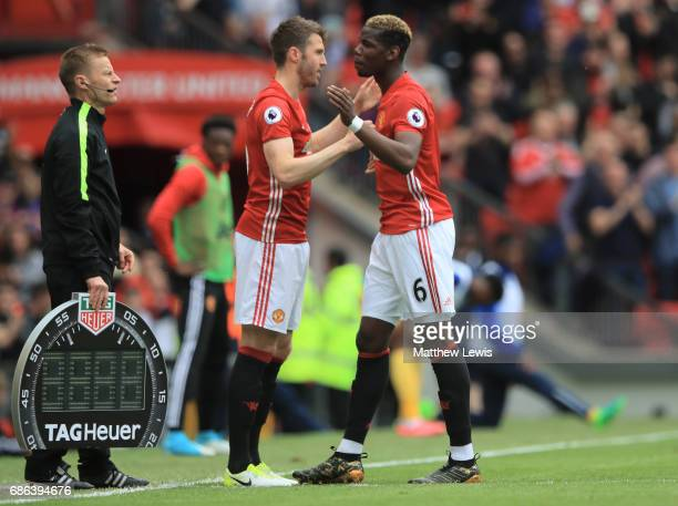 Michael Carrick of Manchester United replaces Paul Pogba of Manchester United as a substitute during the Premier League match between Manchester...