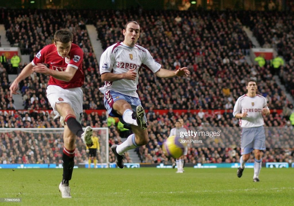 Michael Carrick of Manchester United scores the second goal during the Barclays Premiership match between Manchester United and Aston Villa at Old Trafford on January 13 2007 in Manchester, England.