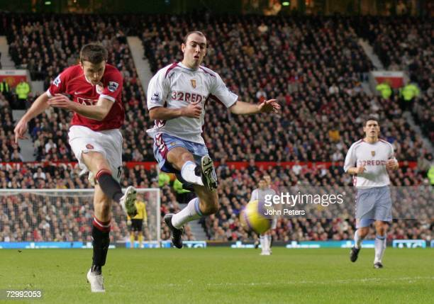Michael Carrick of Manchester United scores the second goal during the Barclays Premiership match between Manchester United and Aston Villa at Old...