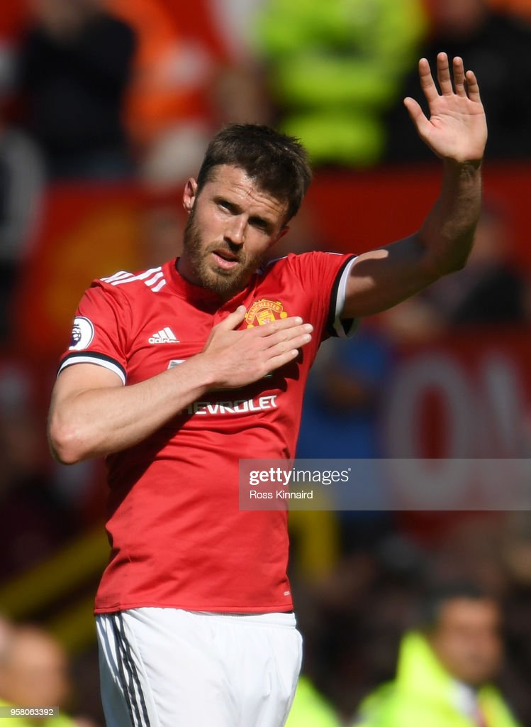 Michael Carrick of Manchester United shows appreciation to the fans during the Premier League match between Manchester United and Watford at Old Trafford on May 13, 2018 in Manchester, England.