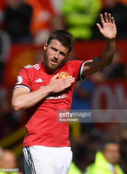 Michael Carrick of Manchester United shows appreciation to the fans during the Premier League match between Manchester United and Watford at Old...