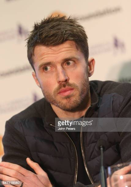 Michael Carrick of Manchester United speaks at a press conference to announce his testimonal match at Old Trafford on March 2 2017 in Manchester...