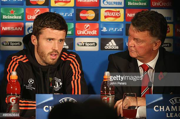 Michael Carrick of Manchester United speaks during a press conference, ahead of their UEFA Champions League match against CSKA Moscow, at Old...