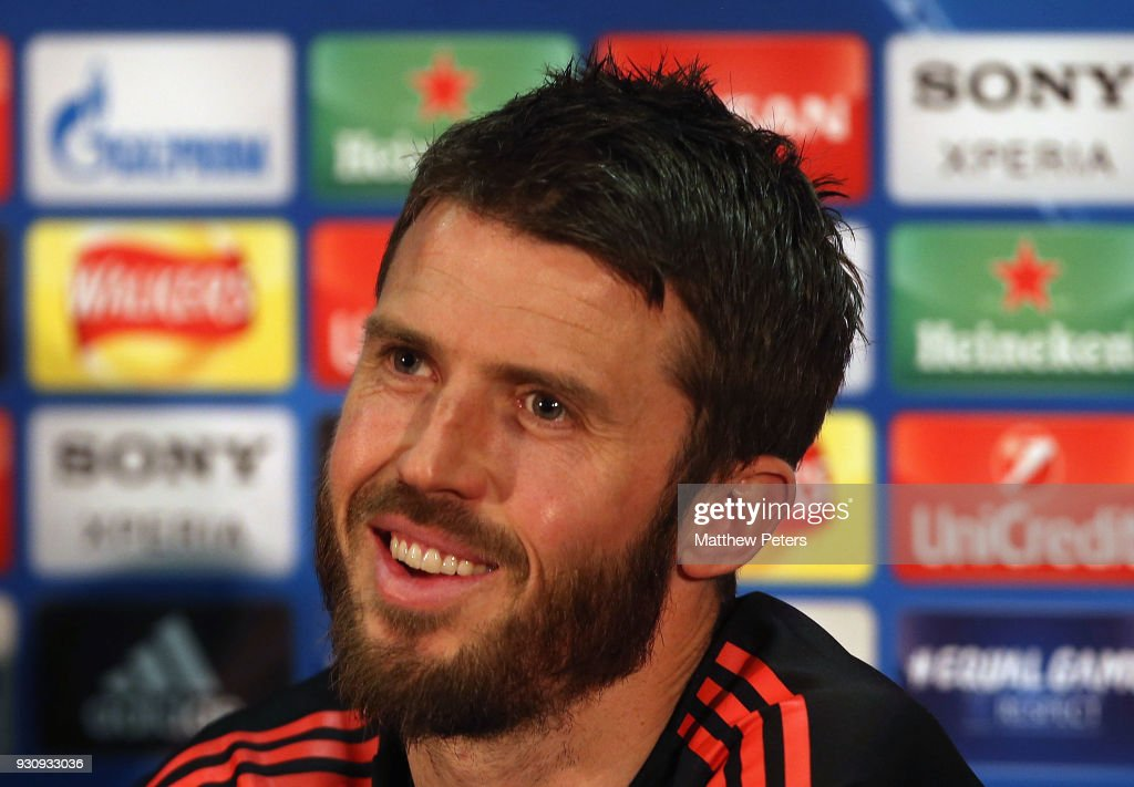 Michael Carrick of Manchester United speaks during a press conference at Old Trafford on March 12, 2018 in Manchester, England.