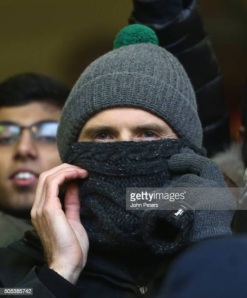 Michael Carrick of Manchester United watches from the stands during the Barclays Premier League match between Liverpool and Manchester United at...