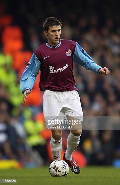 Michael Carrick of West Ham United with the ball at his feet during the FA Barclaycard Premiership match between West Ham United and Newcastle United...