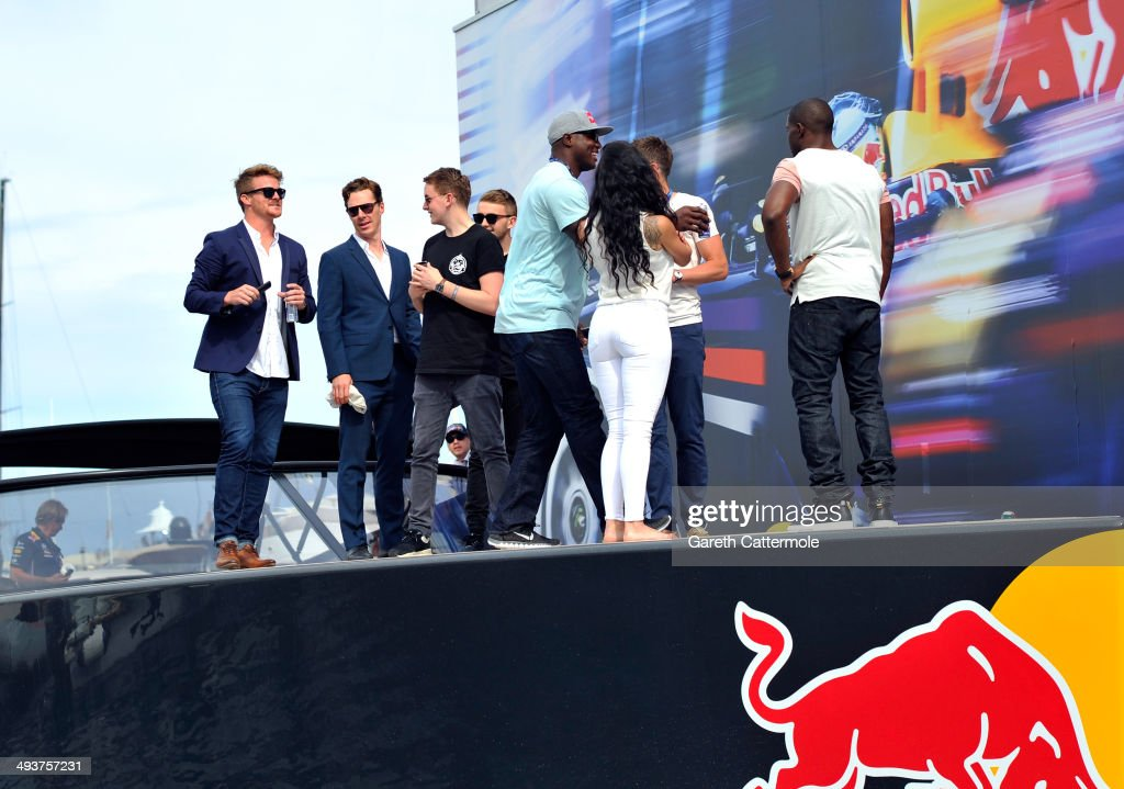 Michael Carrick, Reggie Bush, Lilit Avagyan, Benedict Cumberbatch and Disclosure prepare to watch street trials rider Danny MacAskill front flip off of the Red Bull Energy Station during the Monaco Formula One Grand Prix at Circuit de Monaco on May 25, 2014 in Monte-Carlo, Monaco.