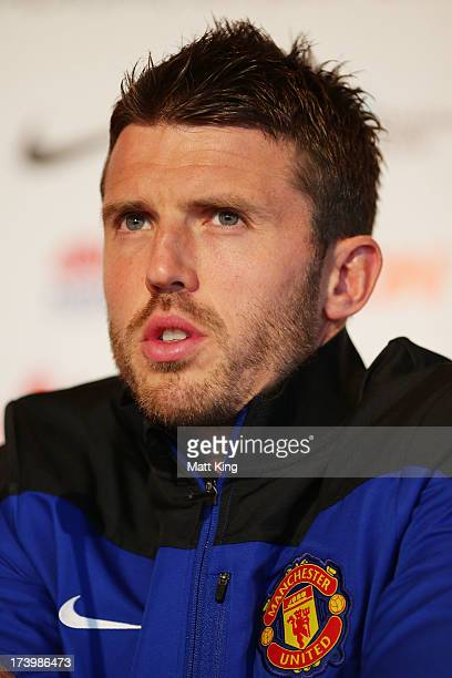 Michael Carrick speaks to the media during a Manchester United press conference at Museum of Contemporary Art on July 19 2013 in Sydney Australia