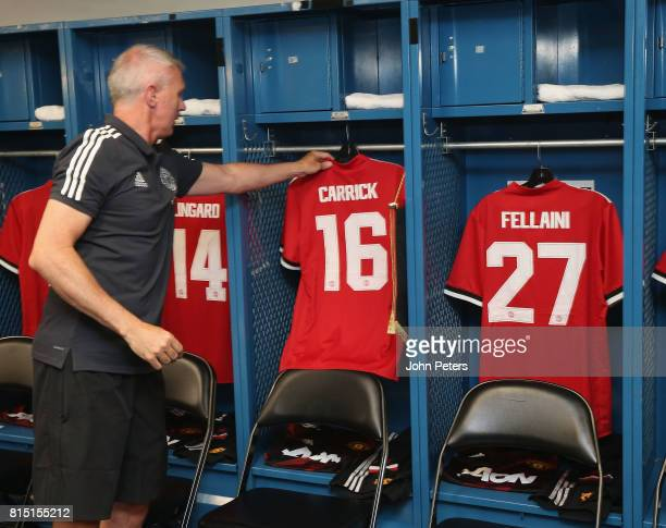 Michael Carrick's shirt is hung up ahead of the preseason friendly match between LA Galaxy and Manchester United at StubHub Center on July 15 2017 in...