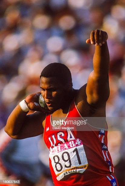 Michael Carter of the USA competes in the Men's Shot Put event of the 1984 Olympic Games on August 11 1984 in the Los Angeles Coliseum in Los Angeles...