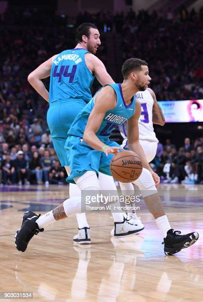 Michael CarterWilliams of the Charlotte Hornets dribbles the ball against the Sacramento Kings during an NBA basketball game at Golden 1 Center on...