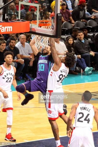 Michael CarterWilliams of the Charlotte Hornets drives to the basket during the game against the Toronto Raptors on February 11 2018 at Spectrum...
