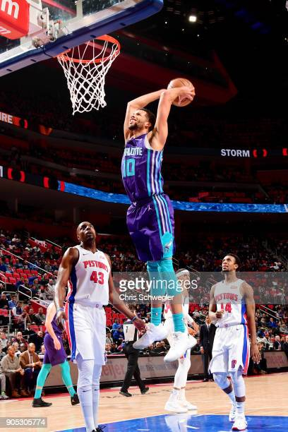 Michael CarterWilliams of the Charlotte Hornets dunks the ball during the game against the Detroit Pistons on January 15 2018 at Little Caesars Arena...