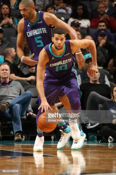 Michael CarterWilliams of the Charlotte Hornets handles the ball against the Utah Jazz on January 12 2018 at Spectrum Center in Charlotte North...