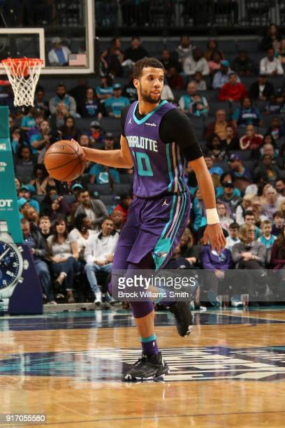 Michael CarterWilliams of the Charlotte Hornets handles the ball against the Toronto Raptors on February 11 2018 at Spectrum Center in Charlotte...