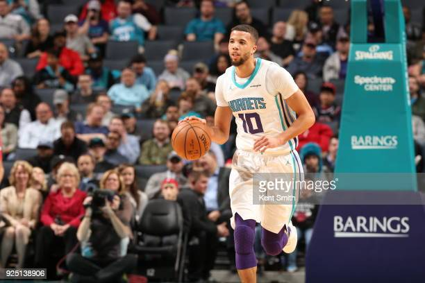Michael CarterWilliams of the Charlotte Hornets handles the ball against the Chicago Bulls on February 27 2018 at Spectrum Center in Charlotte North...