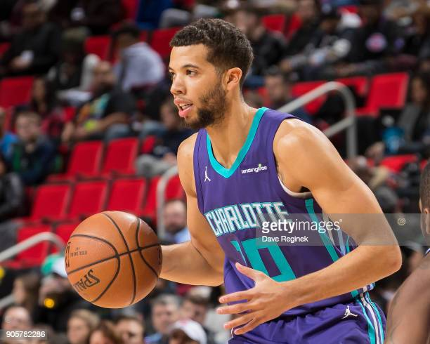 Michael CarterWilliams of the Charlotte Hornets moves the ball up court against the Detroit Pistons during the an NBA game at Little Caesars Arena on...