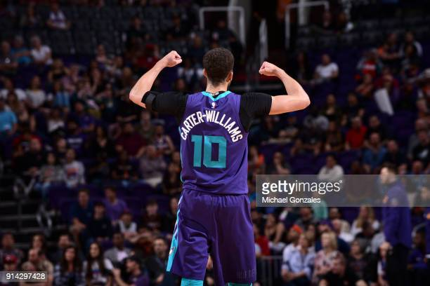 Michael CarterWilliams of the Charlotte Hornets reacts to a play during the game against the Phoenix Suns on February 4 2018 at Talking Stick Resort...