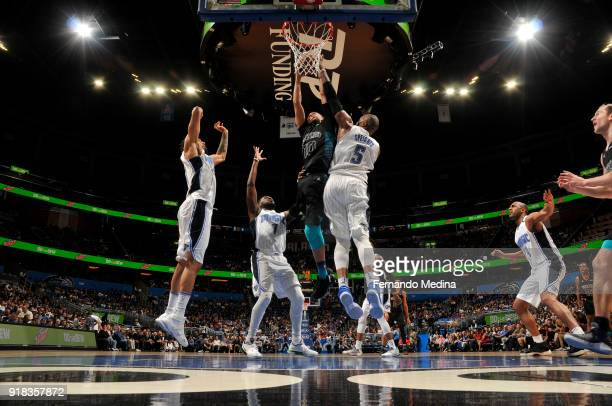 Michael CarterWilliams of the Charlotte Hornets shoots the ball against the Orlando Magic on February 14 2018 at Amway Center in Orlando Florida NOTE...