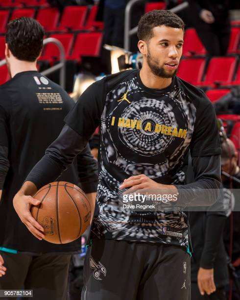 Michael CarterWilliams of the Charlotte Hornets warms up before the an NBA game against the Detroit Pistons at Little Caesars Arena on January 15...