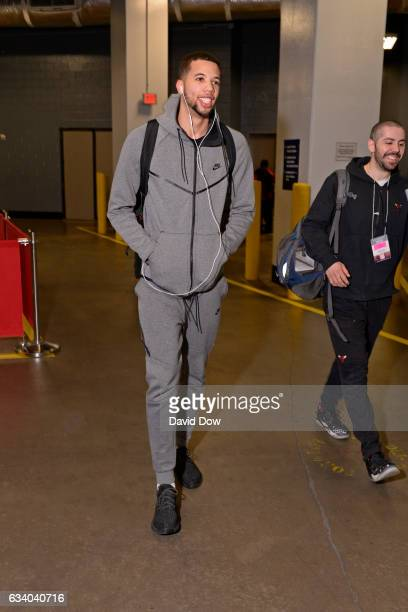 Michael CarterWilliams of the Chicago Bulls arrives at the Toyota Center before the game against the Houston Rockets on February 3 2017 in Houston...