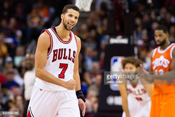 Michael CarterWilliams of the Chicago Bulls celebrates after scoring during the second half against the Cleveland Cavaliers at Quicken Loans Arena on...