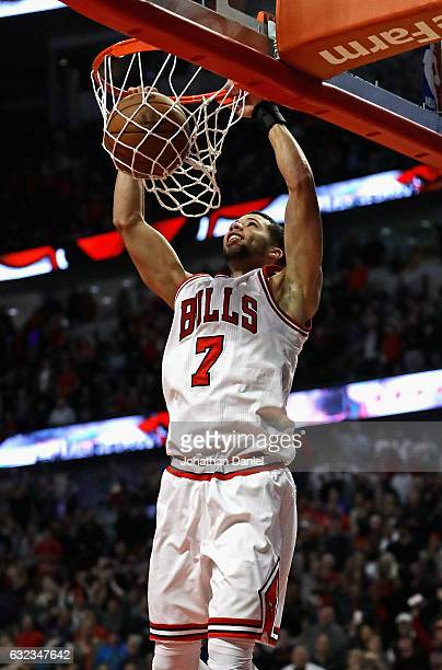 Michael CarterWilliams of the Chicago Bulls dunks the gamewinning shot against the Sacramento Kings at the United Center on January 21 2017 in...
