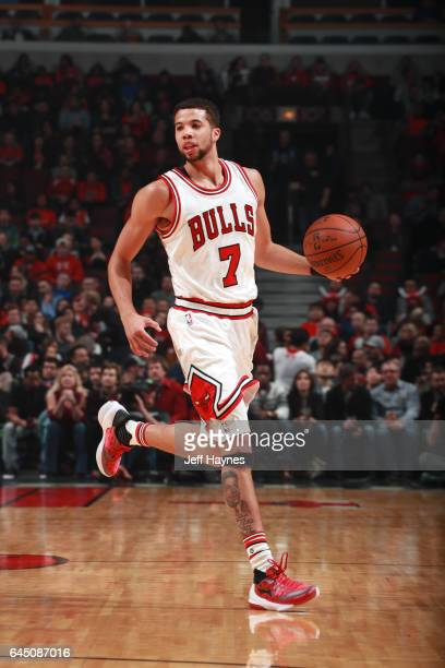 Michael CarterWilliams of the Chicago Bulls handles the ball against the Phoenix Suns during the game on February 24 2017 at the United Center in...