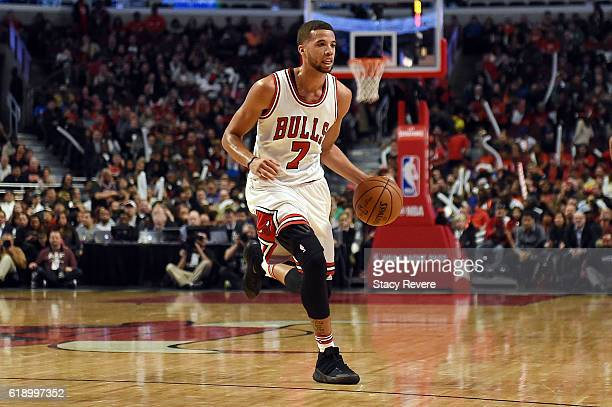 Michael CarterWilliams of the Chicago Bulls handles the ball during a game against the Boston Celtics at the United Center on October 27 2016 in...