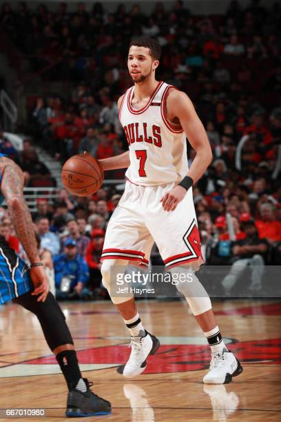 Michael CarterWilliams of the Chicago Bulls handles the ball during a game against the Orlando Magic on April 10 2017 at the United Center in Chicago...