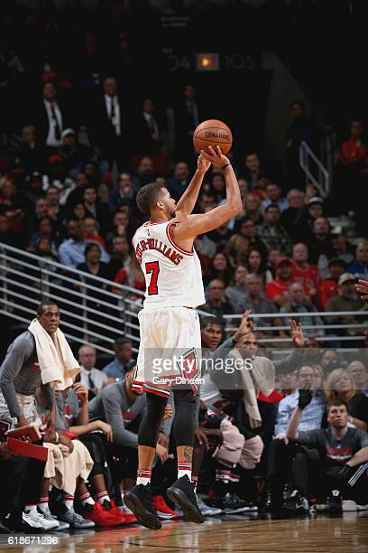 Michael CarterWilliams of the Chicago Bulls shoots the ball against the Boston Celtics on October 27 2016 at the United Center in Chicago Illinois...