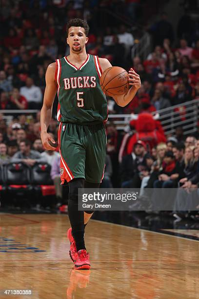 Michael CarterWilliams of the Milwaukee Bucks brings the ball up court against the Chicago Bulls in Game Five of the Eastern Conference Quarterfinals...