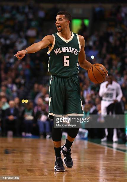 Michael CarterWilliams of the Milwaukee Bucks calls a play during the second quarter against the Boston Celtics at TD Garden on February 25 2016 in...
