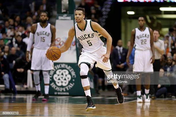 Michael CarterWilliams of the Milwaukee Bucks dribbles the basketball up the court during the game against the Boston Celtics at BMO Harris Bradley...