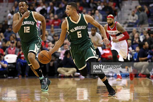 Michael CarterWilliams of the Milwaukee Bucks dribbles up the court in the first half against the Washington Wizards at Verizon Center on January 13...
