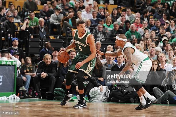 Michael CarterWilliams of the Milwaukee Bucks handles the ball against Isaiah Thomas of the Boston Celtics on February 25 2016 at the TD Garden in...