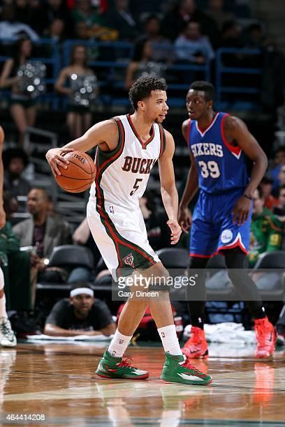 Michael CarterWilliams of the Milwaukee Bucks handles the ball against the Philadelphia 76ers on February 25 2015 at BMO Harris Bradley Center in...