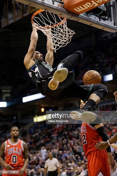Michael CarterWilliams of the Milwaukee Bucks slam dunks the basketball during the third quarter against the Chicago Bulls at BMO Harris Bradley...