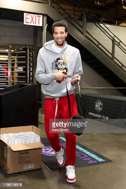 Michael CarterWilliams of the Orlando Magic arrives to the arena before the game against the Charlotte Hornets on April 10 2019 at Spectrum Center in...