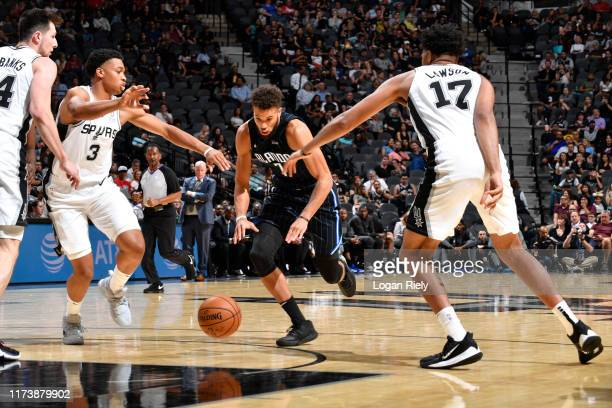 Michael CarterWilliams of the Orlando Magic drives to the basket against the San Antonio Spurs during the preseason on October 5 2019 at the ATT...