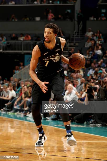Michael CarterWilliams of the Orlando Magic handles the ball during the game against the Charlotte Hornets on April 10 2019 at Spectrum Center in...