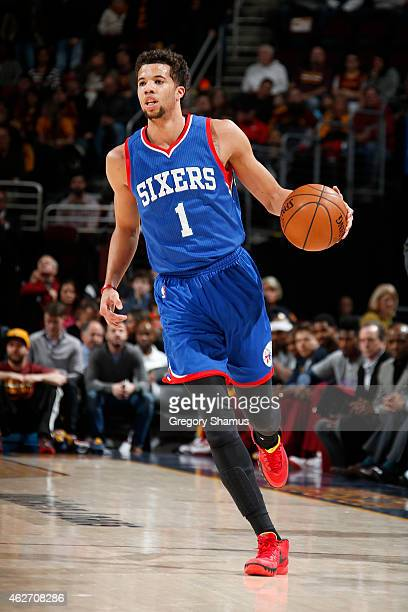 Michael CarterWilliams of the Philadelphia 76ers dribbles the ball against the Cleveland Cavaliers on February 2 2015 at Quicken Loans Arena in...