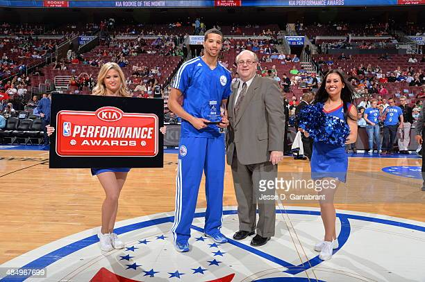 Michael CarterWilliams of the Philadelphia 76ers gets the KIA Performance Award before the game against the Boston Celtics at the Wells Fargo Center...
