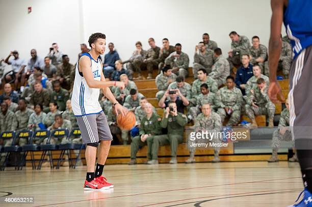 Michael CarterWilliams of the Philadelphia 76ers handles the ball against during a Philadelphia 76ers practice on November 4 2014 at the Fort Dix...
