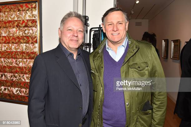 Michael Caruso and Craig Hatkoff attend Neil Grayson Industrial Melanism solo exhibition at Eykyn Maclean Gallery on February 13 2018 in New York City