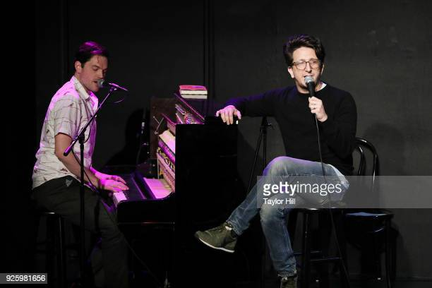 Michael Cassady and Paul Rust perform as Don't Stop or We'll Die during the Everything Is Horrible And Wonderful book release show at UCB Sunset...